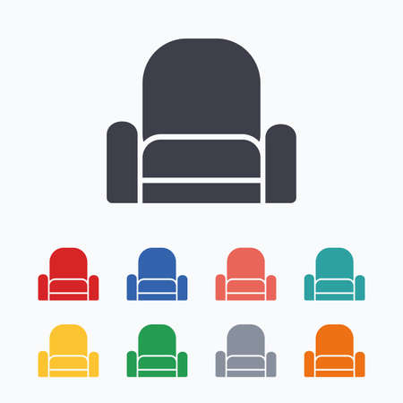 modern furniture: Armchair sign icon. Modern furniture symbol. Colored flat icons on white background.