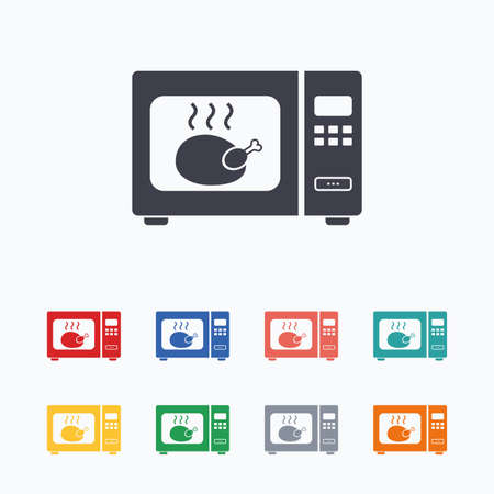 microwave stove: Microwave oven sign icon. Roast chicken. Kitchen electric stove symbol. Colored flat icons on white background.