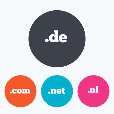 nl: Top-level internet domain icons. De, Com, Net and Nl symbols. Unique national DNS names. Circle flat buttons with icon. Illustration
