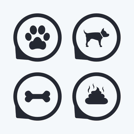 feces: Pets icons. Dog paw and feces signs. Clean up after pets. Pets food. Flat icon pointers. Illustration