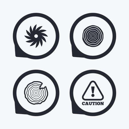 tree cross section: Wood and saw circular wheel icons. Attention caution symbol. Sawmill or woodworking factory signs. Flat icon pointers. Illustration