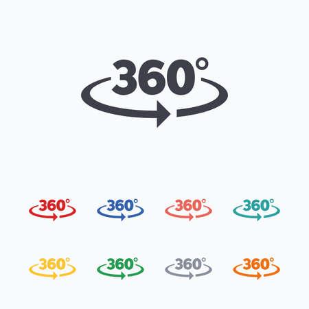 角度 360 度記号アイコンです。幾何学の数学記号です。フル回転。白の背景に色付きのフラット アイコン。