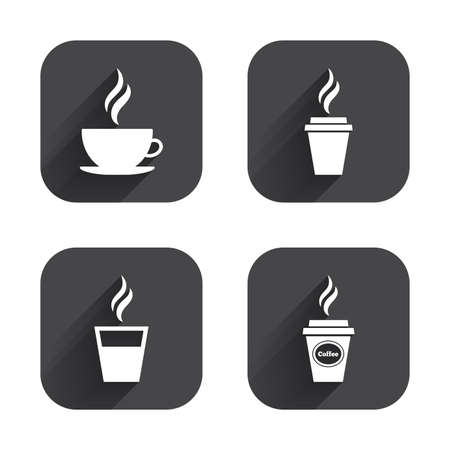take away: Coffee cup icon. Hot drinks glasses symbols. Take away or take-out tea beverage signs. Square flat buttons with long shadow.
