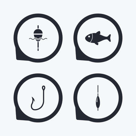 bobber: Fishing icons. Fish with fishermen hook sign. Float bobber symbol. Flat icon pointers.
