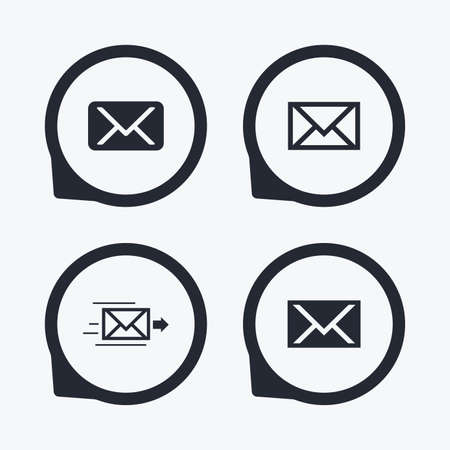 Mail envelope icons. Message delivery symbol. Post office letter signs. Flat icon pointers. Illustration