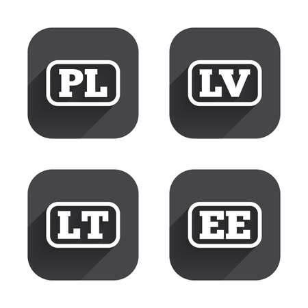 polish lithuanian: Language icons. PL, LV, LT and EE translation symbols. Poland, Latvia, Lithuania and Estonia languages. Square flat buttons with long shadow.
