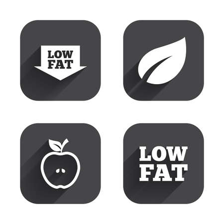 low fat: Low fat arrow icons. Diets and vegetarian food signs. Apple with leaf symbol. Square flat buttons with long shadow. Illustration