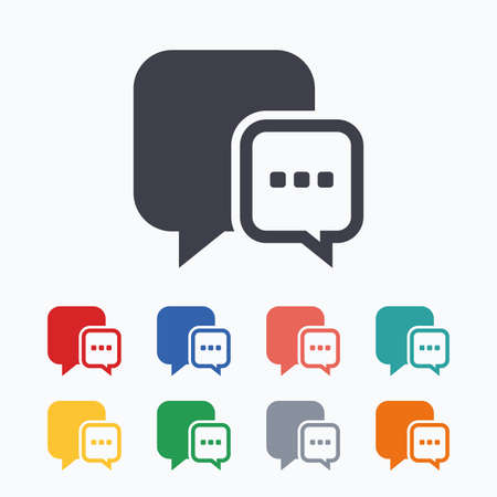 three points: Chat sign icon. Speech bubble with three dots symbol. Communication chat bubble. Colored flat icons on white background.