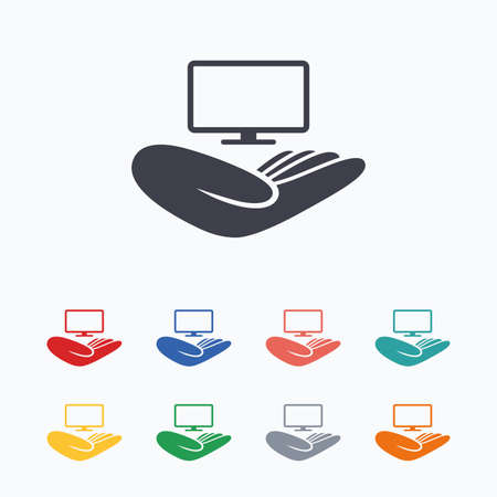 hand colored: TV insurance sign icon. Hand holds wide-screen TV symbol. Colored flat icons on white background.