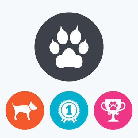 clutches: Pets icons. Cat paw with clutches sign. Winner cup and medal symbol. Dog silhouette. Circle flat buttons with icon.