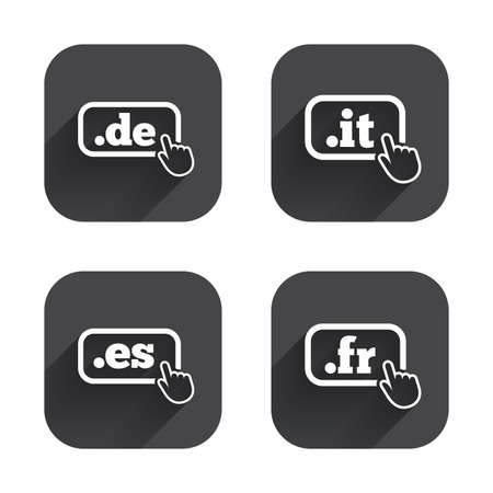 es: Top-level internet domain icons. De, It, Es and Fr symbols with hand pointer. Unique national DNS names. Square flat buttons with long shadow.