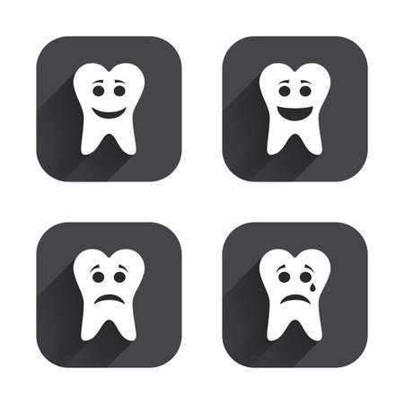 long depression: Tooth smile face icons. Happy, sad, cry signs. Happy smiley chat symbol. Sadness depression and crying signs. Square flat buttons with long shadow.