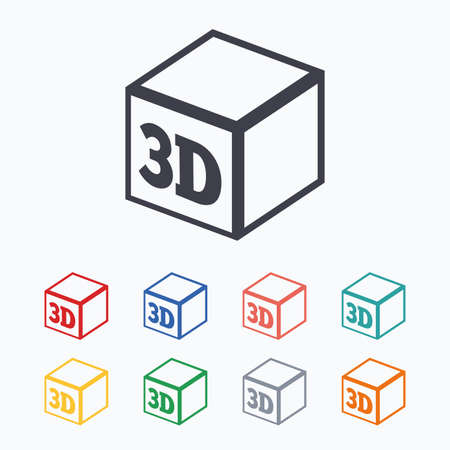 additive manufacturing: 3D Print sign icon. 3d cube Printing symbol. Additive manufacturing. Colored flat icons on white background.