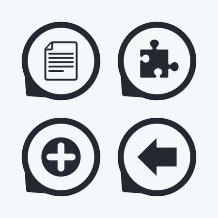 puzzle corners: Plus add circle and puzzle piece icons. Document file and back arrow sign symbols. Flat icon pointers.