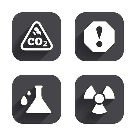 danger carbon dioxide  co2  labels: Attention and radiation icons. Chemistry flask sign. CO2 carbon dioxide symbol. Square flat buttons with long shadow. Illustration