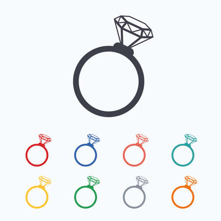 fiance: Ring sign icon. Jewelry with diamond symbol. Wedding or engagement day symbol. Colored flat icons on white background. Illustration