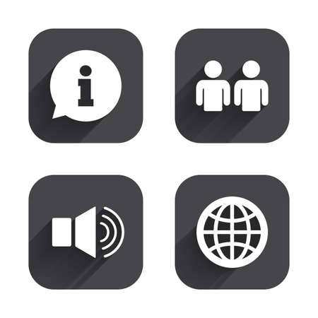 shadow people: Information sign. Group of people and speaker volume symbols. Internet globe sign. Communication icons. Square flat buttons with long shadow. Illustration