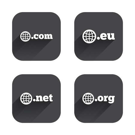 dns: Top-level internet domain icons. Com, Eu, Net and Org symbols with globe. Unique DNS names. Square flat buttons with long shadow.