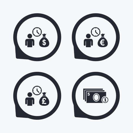 borrow: Bank loans icons. Cash money bag symbols. Borrow money sign. Get Dollar money fast. Flat icon pointers.