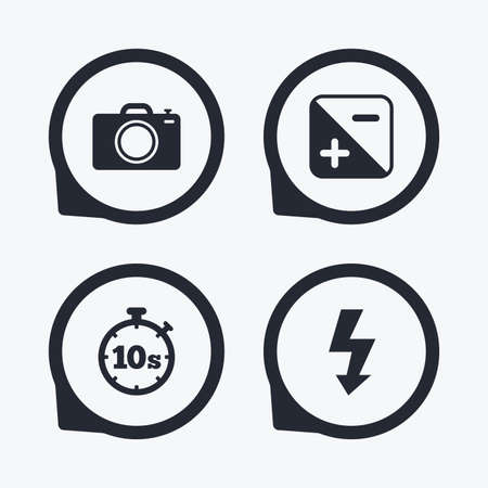 luminance: Photo camera icon. Flash light and exposure symbols. Stopwatch timer 10 seconds sign. Flat icon pointers.