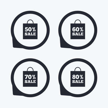 50 to 60: Sale bag tag icons. Discount special offer symbols. 50%, 60%, 70% and 80% percent sale signs. Flat icon pointers.