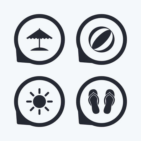 flipflops: Beach holidays icons. Ball, umbrella and flip-flops sandals signs. Summer sun symbol. Flat icon pointers.