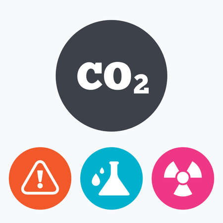 danger carbon dioxide  co2  labels: Attention and radiation icons. Chemistry flask sign. CO2 carbon dioxide symbol. Circle flat buttons with icon.
