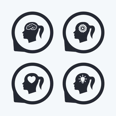 position d amour: Head with brain and idea lamp bulb icons. Female woman think symbols. Cogwheel gears signs. Love heart. Flat icon pointers.