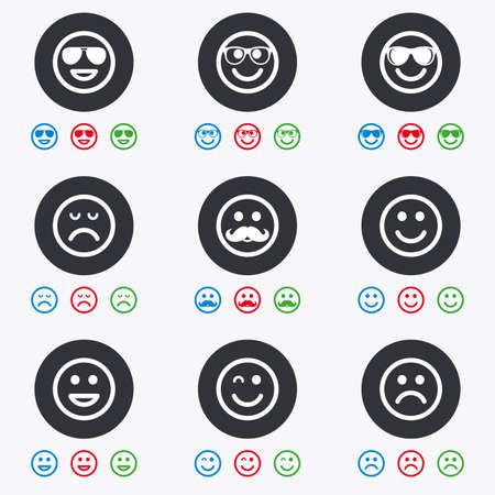 sorrowful: Smile icons. Happy, sad and wink faces signs. Sunglasses, mustache and laughing lol smiley symbols. Flat circle buttons with icons.
