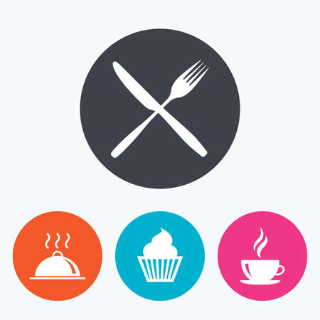 food drink: Food and drink icons. Muffin cupcake symbol. Fork and knife sign. Hot coffee cup. Food platter serving. Circle flat buttons with icon. Illustration