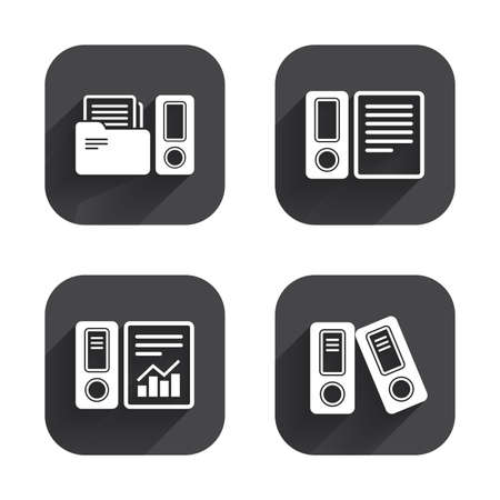 accountancy: Accounting report icons. Document storage in folders sign symbols. Square flat buttons with long shadow. Illustration
