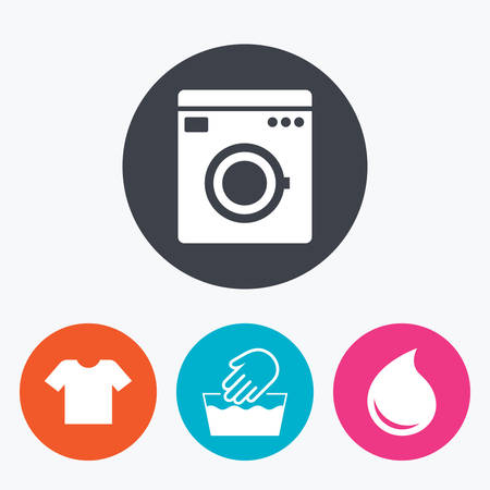 washhouse: Wash machine icon. Hand wash. T-shirt clothes symbol. Laundry washhouse and water drop signs. Not machine washable. Circle flat buttons with icon.