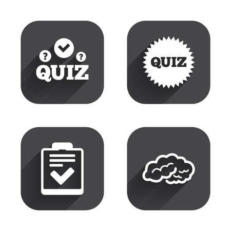 feedback form: Quiz icons. Human brain think. Checklist symbol. Survey poll or questionnaire feedback form. Questions and answers game sign. Square flat buttons with long shadow. Illustration