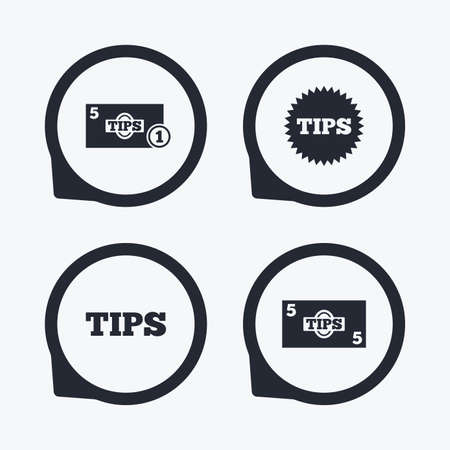 cash money: Tips icons. Cash with coin money symbol. Star sign. Flat icon pointers.