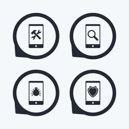 screw key: Smartphone icons. Shield protection, repair, software bug signs. Search in phone. Hammer with wrench service symbol. Flat icon pointers.