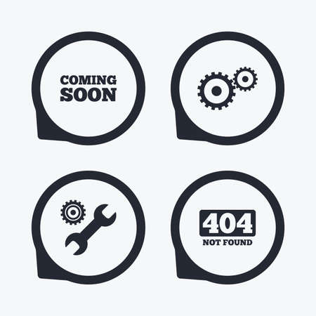 screw key: Coming soon icon. Repair service tool and gear symbols. Wrench sign. 404 Not found. Flat icon pointers.