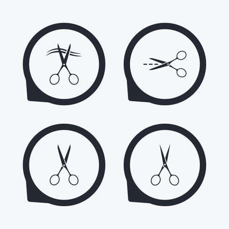barbershop: Scissors icons. Hairdresser or barbershop symbol. Scissors cut hair. Cut dash dotted line. Tailor symbol. Flat icon pointers. Illustration