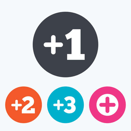 Plus icons. Positive symbol. Add one, two, three and four more sign. Circle flat buttons with icon.
