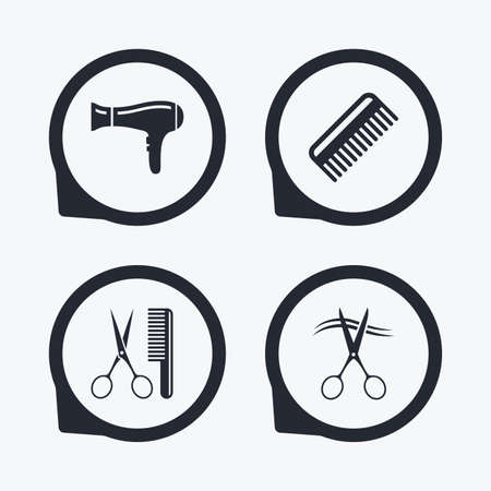 comb hair: Hairdresser icons. Scissors cut hair symbol. Comb hair with hairdryer sign. Flat icon pointers.