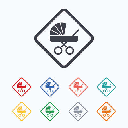 baby on board: Baby on board sign icon. Infant in car caution symbol. Baby buggy carriage. Colored flat icons on white background.