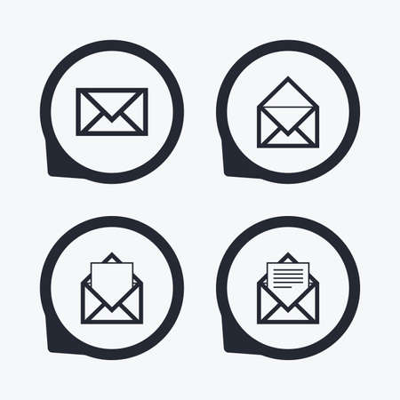 webmail: Mail envelope icons. Message document symbols. Post office letter signs. Flat icon pointers.