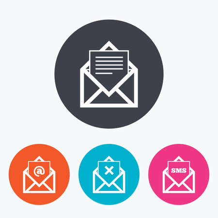 webmail: Mail envelope icons. Message document symbols. Post office letter signs. Delete mail and SMS message. Circle flat buttons with icon.