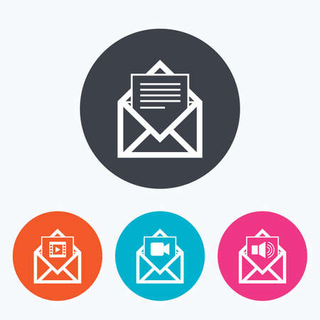 Mail envelope icons. Message document symbols. Video and Audio voice message signs. Circle flat buttons with icon.