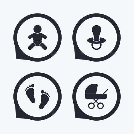 Bébé de nourrissons de icônes. garçon enfant avec le symbole des couches. Buggy et signes factices. sucette enfant et poussette poussette. empreinte enfant signe pas. Flat icon pointeurs. Vecteurs