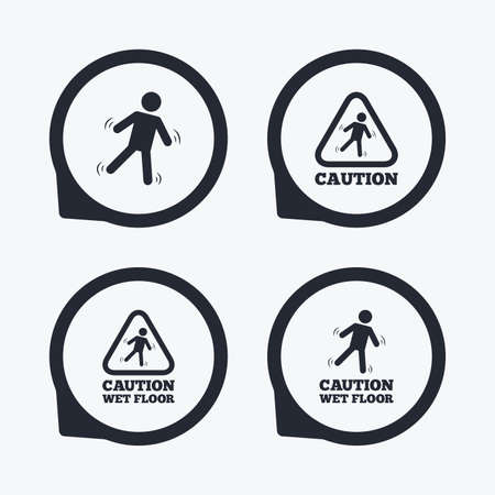 wet floor caution sign: Caution wet floor icons. Human falling triangle symbol. Slippery surface sign. Flat icon pointers.