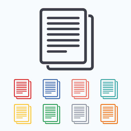 duplicate: Copy file sign icon. Duplicate document symbol. Colored flat icons on white background.