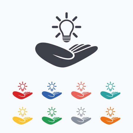intellectual: Idea patent insurance sign. Hand holds lamp bulb symbol. Intellectual Property. Colored flat icons on white background. Illustration