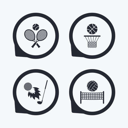 volleyball net: Tennis rackets with ball. Basketball basket. Volleyball net with ball. Golf fireball sign. Sport icons. Flat icon pointers.