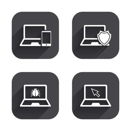 Notebook laptop pc icons. Virus or software bug signs. Shield protection symbol. Mouse cursor pointer. Square flat buttons with long shadow. Illustration