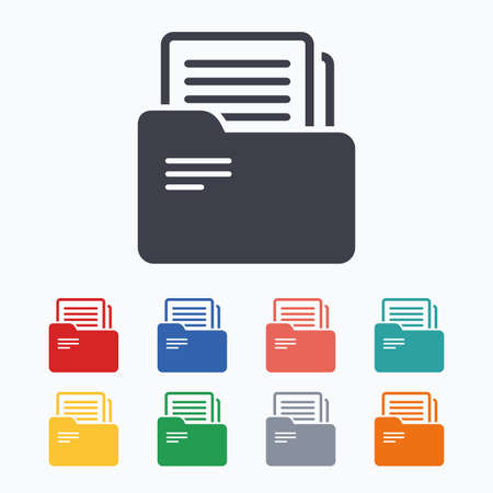 bookkeeping: Document folder sign. Accounting binder symbol. Bookkeeping management. Colored flat icons on white background. Illustration